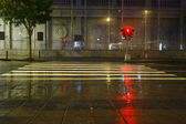 Long exposure traffic pedestrian crossing on rainy night — Stock Photo