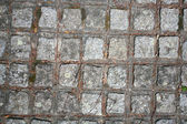The fragment of a pavement footpath Paving stone with holes — Stock Photo
