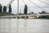 Pior inundação no registro através dos balcãs na sérvia — Fotografia Stock
