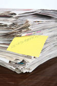 Newspapers Pile on the Table — Stock Photo