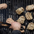 Chopped meat kebapcheta, meatballs, charcoal grill — Stock Photo