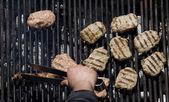Kebapcheta nasekané maso, karbanátky, uhlí gril — Stock fotografie