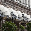White Awnings Street Lanterns — Stock Photo