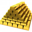 Bunch of gold bars - Stock Photo