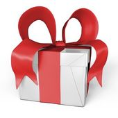 My gift in red and white — Stock Photo