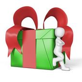 My gift in red and green — Stock Photo
