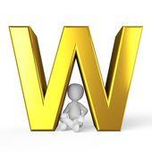 золотой w — Стоковое фото