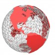 Red world map — Stock Photo