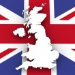 Stock Photo: United Kingdom map and flag