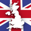 United Kingdom map and flag — Stock Photo