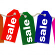 Colorful sale tags — Stock fotografie