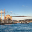 Bosphorus Bridge and Ortakoy Mosque in Istanbul Turkey — Stock Photo
