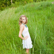 Woman in Tall Green Grass — Stock Photo