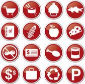 Food market icon set — Stock Vector