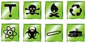 Toxic waste icon set — Stock Vector