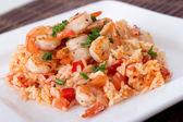 Garlic shrimp on rice — Stock Photo