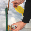 Stock Photo: Ice fishing pole
