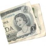 Old canada 1 dollar bill — Stock Photo #23305992