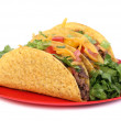 Beef taco on plate — Stock Photo