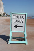 Traffic lanes sign on the beach — Stock Photo