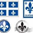 Stok Vektör: Quebec stamp illustration
