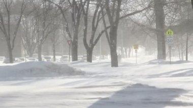 Winter blizzard street scene HD — Wideo stockowe