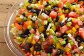 Multicolored festive salsa dip closeup — Stock Photo
