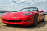 Red chevrolet corvette car 2005 — Stockfoto