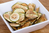 Zucchini thin chips oven baked — Stock Photo