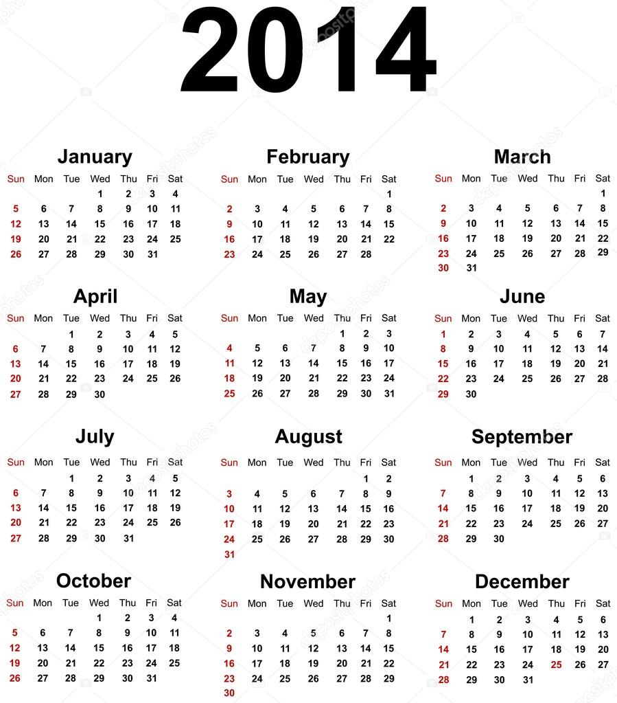 Calendar 2014 - Stock Illustration