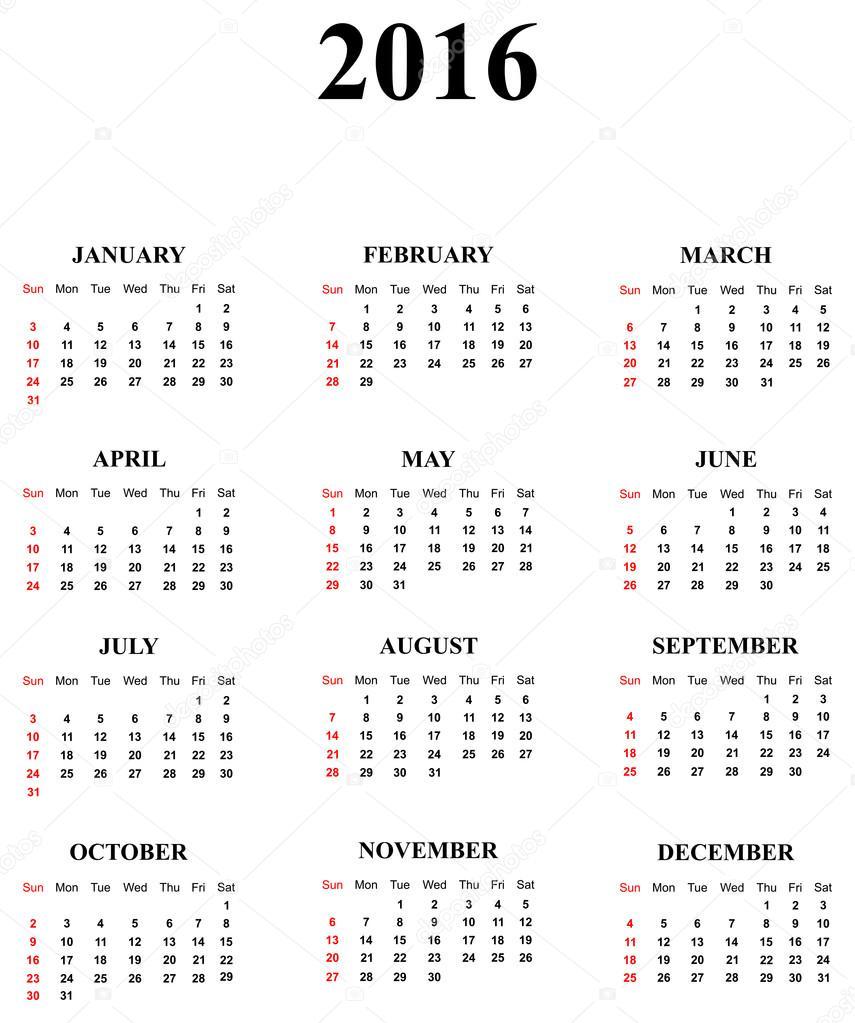 Calendar For 2016 — Stock Vector © radub85 #20718501
