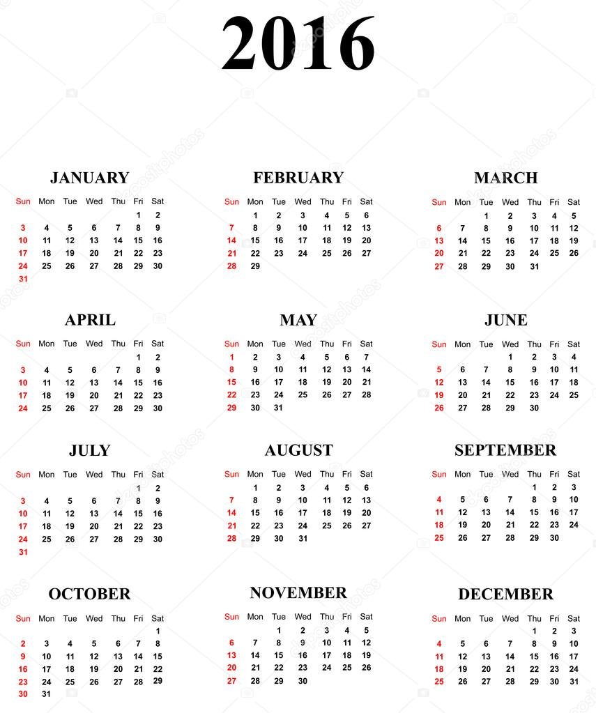 Вектор автора radub85.  Простой календарь на год 2016.