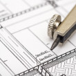 Architect Compass And Plan — Stock Photo #21971365