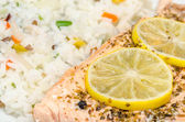Grill Salmon With Rice — Stockfoto