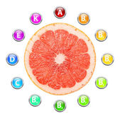 Healthy Life Grapefruit Vitamins — 图库照片