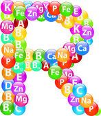 Vitamin Letter R — Stock Vector