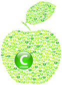 Green Apple Vitamin C — Stok Vektör