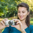 Girl Taking Amateur Photos — Stock Photo
