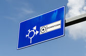 Downtown Road Traffic Sign — Stock Photo