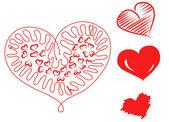 рука нарисованные сердца — Стоковое фото