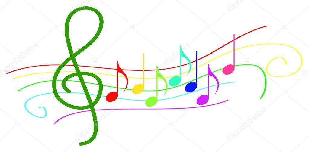 Colores notas musicales en pentagrama — Vector de stock © radub85 ...