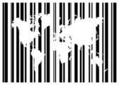 Shopping Bar Code With World Map — Stockvector