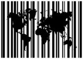 Shopping Bar Code With World Map — Vector de stock