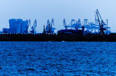 Port Cranes Silhouettes — Stock Photo
