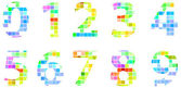Colorful Modern Square Mosaic Numbers — Stock Vector