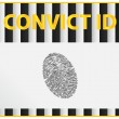 Convict Identification Card With Fingerprint Registration — Stock Vector