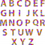 Alphabet Letters With Retro Disco Circles Texture — Stock Vector #32757111