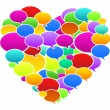 Colored Speech Bubbles Heart Shape — Stock Vector