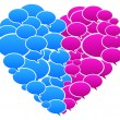 Blue And Pink Colored Speech Bubbles Heart Shape — Stock Vector