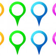Colored Map Pins Icons For Gps Map Location — Stock Vector